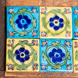 〔5.2cm×5.2cm〕ブルーポッタリー ジャイプール陶器の正方形デコレーションタイル - 黄色