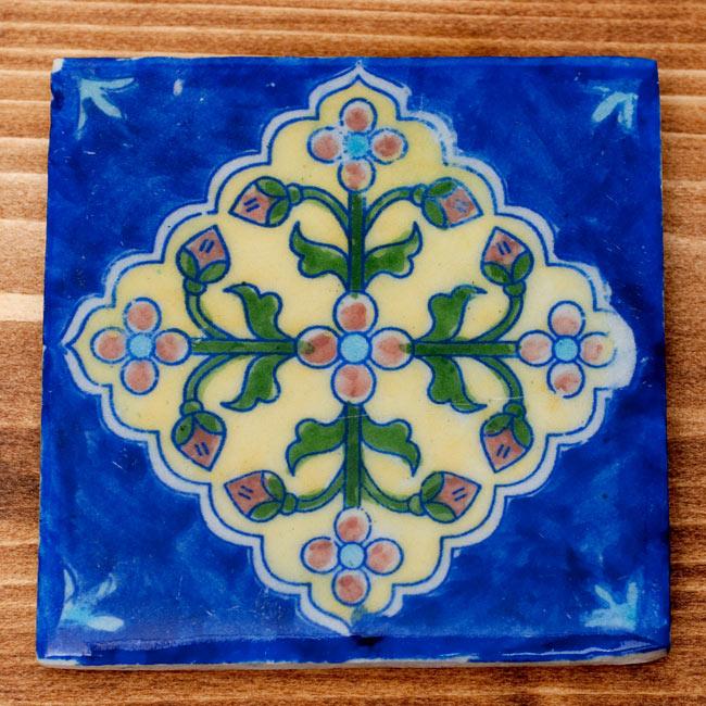 〔10cm×10cm〕ブルーポッタリー ジャイプール陶器の正方形デコレーションタイル - 菱型唐草系の写真6 - 【選択:B】 青 はこちらになります。
