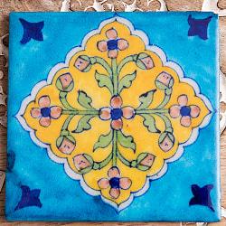 〔10cm×10cm〕ブルーポッタリー ジャイプール陶器の正方形デコレーションタイル - 菱型唐草系