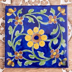 〔10cm×10cm〕ブルーポッタリー ジャイプール陶器の正方形デコレーションタイル - 唐草系