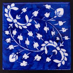 〔10cm×10cm〕ブルーポッタリー ジャイプール陶器の正方形デコレーションタイル - 蔦系