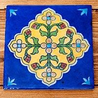 〔15.3cm×15.3cm〕ブルーポッタリー ジャイプール陶器の正方形デコレーションタイル - 菱型唐草青