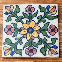 〔10cm×10cm〕ブルーポッタリー ジャイプール陶器の正方形デコレーションタイル - 唐草白