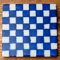 〔10cm×10cm〕ブルーポッタリー ジャイプール陶器の正方形デコレーションタイル - チェック柄青
