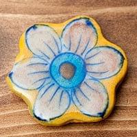 ブルーポッタリー ジャイプール陶器のマグネット - お花型