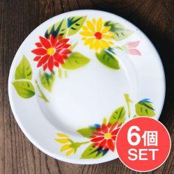 【6個セット】タイのレトロホーロー 花柄飾り皿 RABBIT BRAND〔約18cm×約2.7cm〕の商品写真