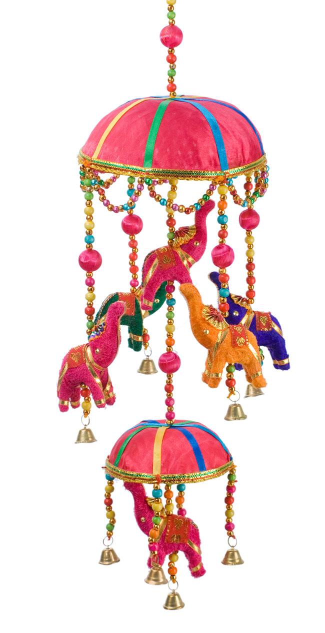 ゾウのハンギング2連-15cm ピンクの写真