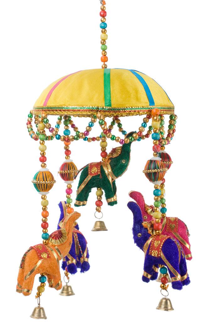 ゾウのハンギング(1連-15cm程度)-黄色傘の写真