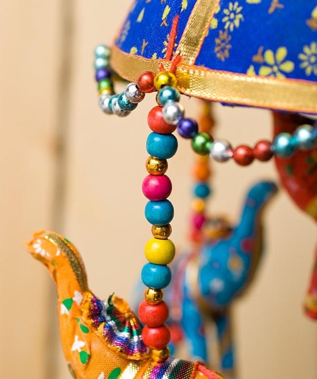 ゾウのハンギング1連【15cm程度】 青の写真5 - 色とりどりのビーズがとても可愛いです!