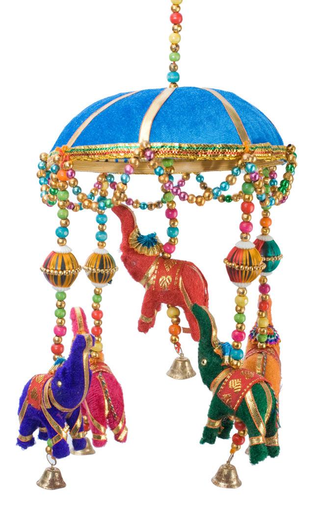 ゾウのハンギング(1連-15cm程度)-水色傘の写真