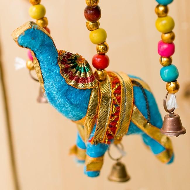 ゾウのハンギング傘-8cm 水色 【アソート】の写真4 - 手作りの可愛い象さんです。目はあったりなかったりします。1点1点異なるのが手作りならではの魅力ですね^^