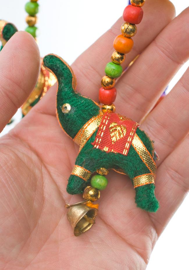 ゾウのハンギング(10.5cm程度)-緑傘の写真4 - 象のカラーリングはアソートとなります。