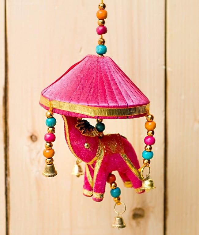 ゾウのハンギング傘-8cm ピンクの写真