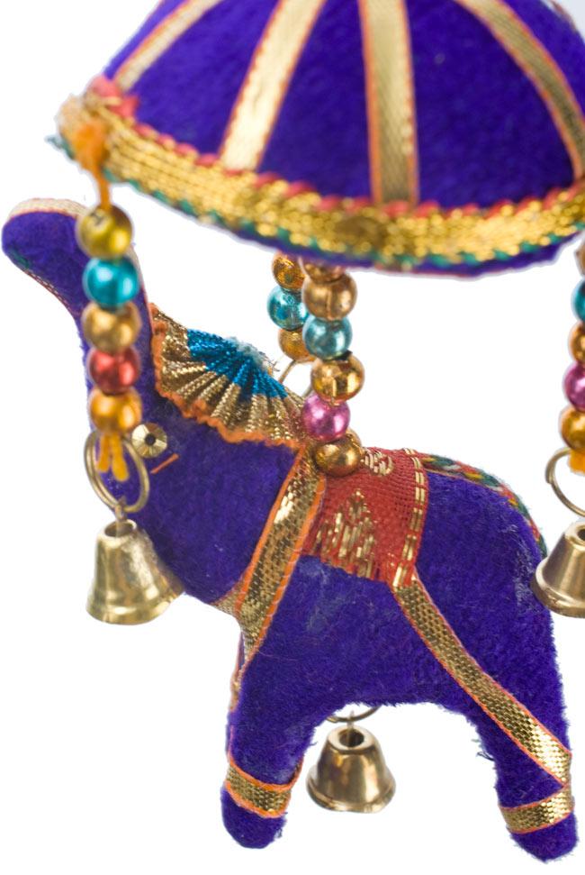 ゾウのハンギング(小)-紫色傘の写真 - お部屋の彩りにどうぞ!