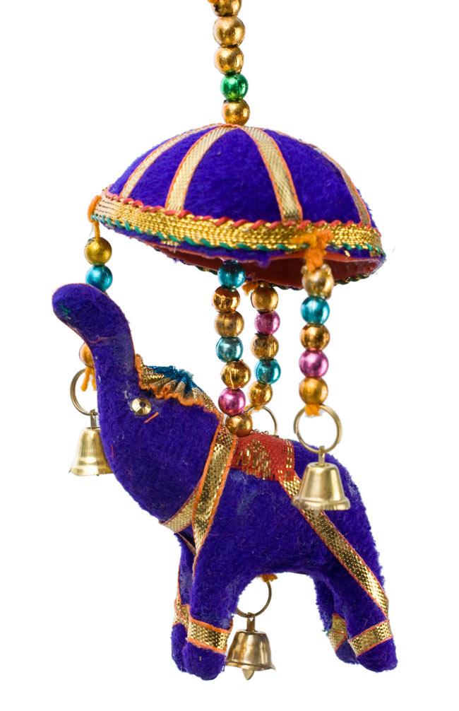 ゾウのハンギング(小)-紫色傘の写真1