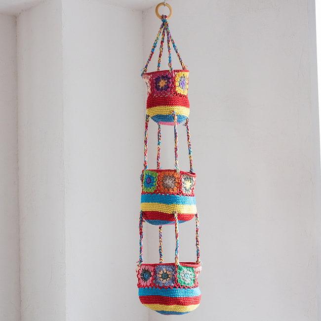 手編みコットンのハンギング収納【3段】 10 - 3:赤系