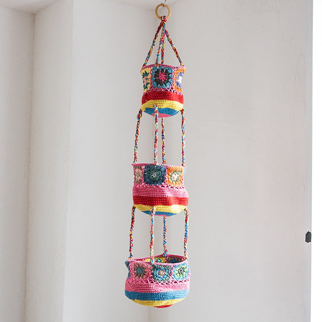 手編みコットンのハンギング収納【3段】 11 - 4:ピンク系