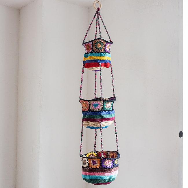 手編みコットンのハンギング収納【3段】 12 - 5:黒系