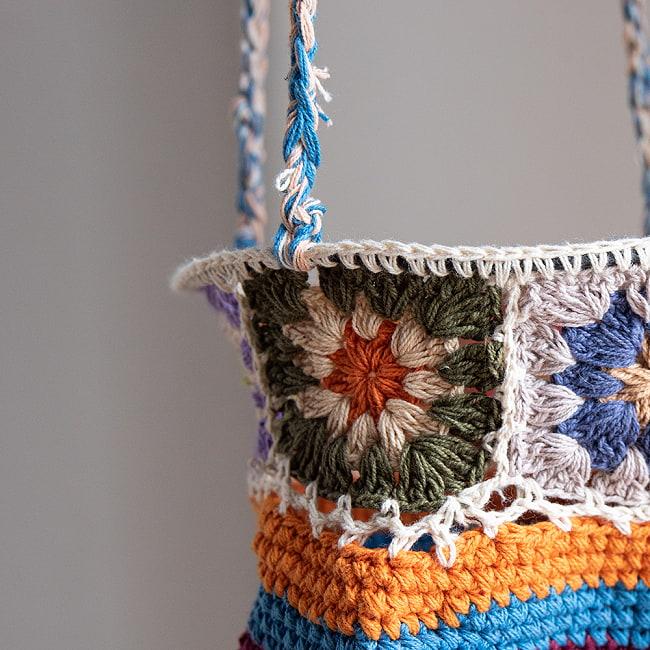 手編みコットンのハンギング収納【3段】の写真4 - アップにしてみました