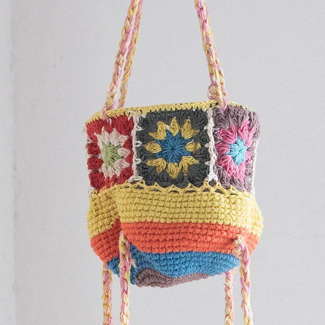 手編みコットンのハンギング収納【3段】の写真6 - 上段のアップ
