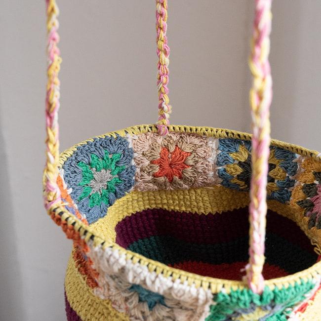 手編みコットンのハンギング収納【3段】の写真7 - 中段のアップです