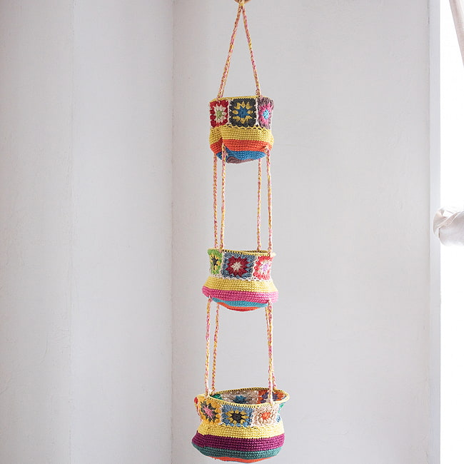 手編みコットンのハンギング収納【3段】 9 - 2:黄色系