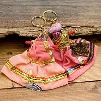 インドのお人形 ペアキーホルダー【ピンク・紫・赤系アソート】