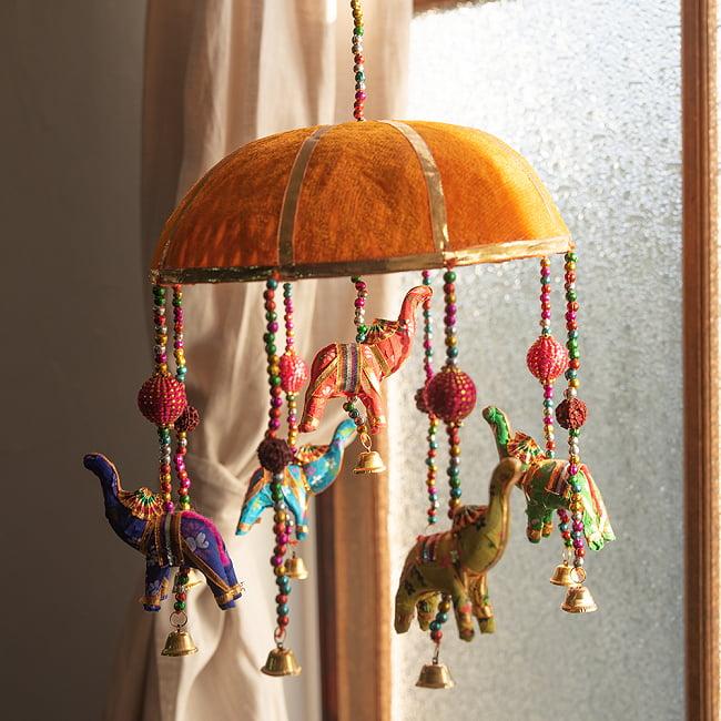 【5色展開】ゾウのハンギング1連 - 23cm 6 - オレンジ