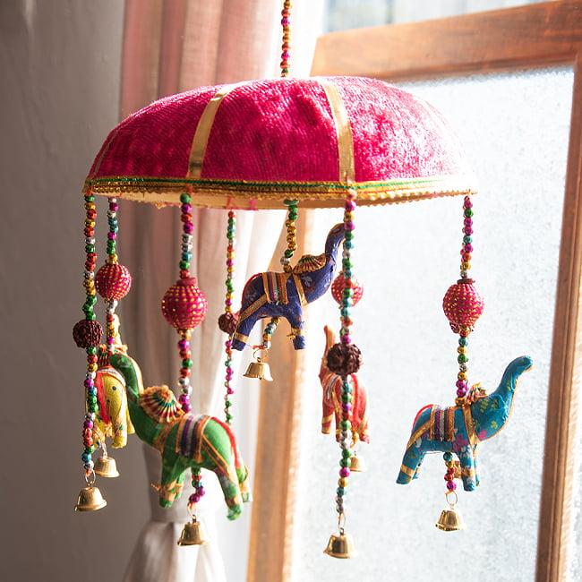【5色展開】ゾウのハンギング1連 - 23cm 8 - ピンク