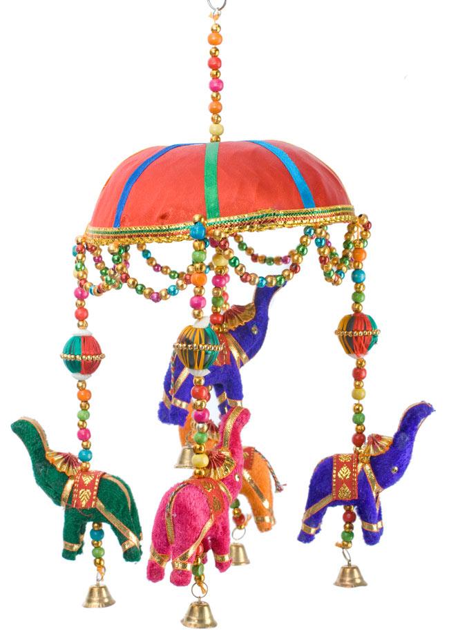 ゾウのハンギング(1連-15cm程度)-赤傘の写真