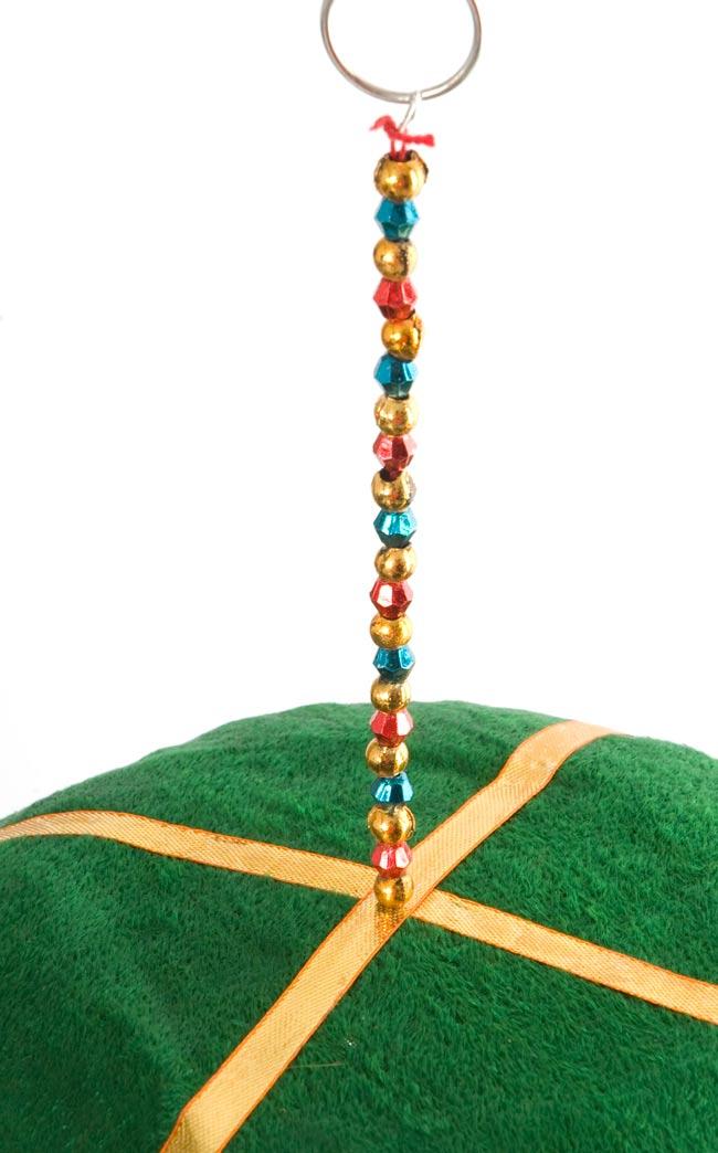 ゾウのハンギング3連-23cm 緑の写真6 - 傘の上の部分はこんな感じで雰囲気のあるビーズです。