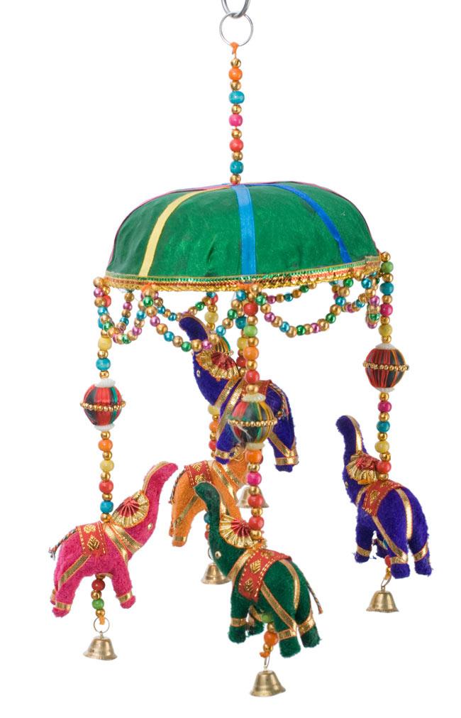 ゾウのハンギング(1連-15cm程度)-緑傘の写真