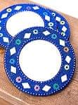鏡とビーズの円形ハンドミラー - ブルー