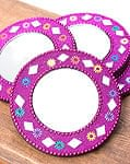 鏡とビーズの円形ハンドミラー - ピンク
