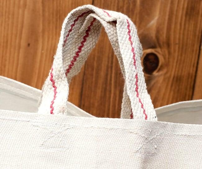マサラ帆布バッグ[ゾウさん] 4 - 持ち手などの部分を拡大しました