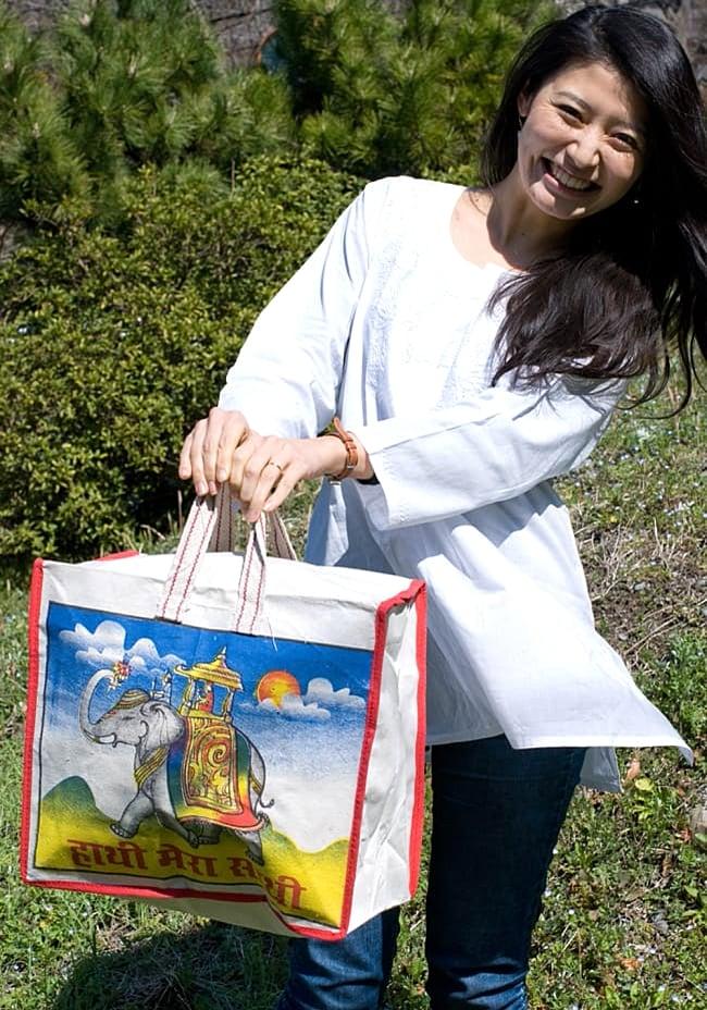 マサラ帆布バッグ[ゾウさん] 7 - だいたいこのような大きさです