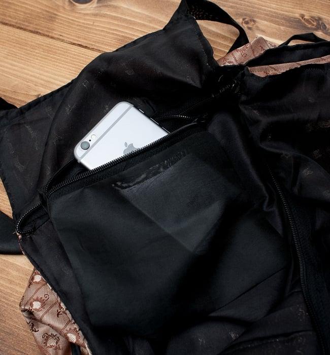 オールドシルクサリーのジッパー付き肩掛けバッグ - 選べる一点物の写真9 - 内ポケットもついています