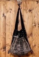 オールドシルクサリーのジッパー付き肩掛けバッグ - 黒・グレー系