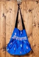 オールドシルクサリーのジッパー付き肩掛けバッグ - 青系