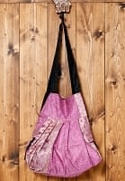 オールドシルクサリーのジッパー付き肩掛けバッグ -紫・紺系