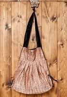 オールドシルクサリーのジッパー付き肩掛けバッグ - ベージュ・ブラウン系