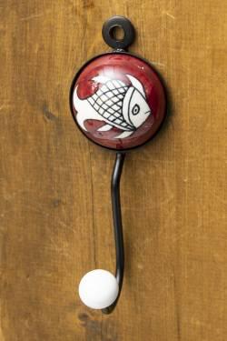 アジアンデザインの壁掛けフック ラウンド - 魚