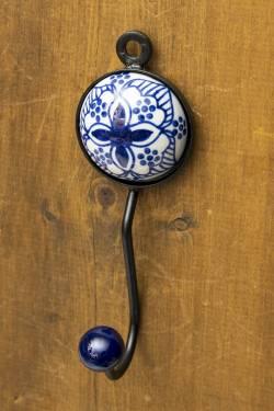 アジアンデザインの壁掛けフック ラウンド - ブルーフラワー