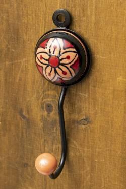 アジアンデザインの壁掛けフック ラウンド - ブラウンチェリー