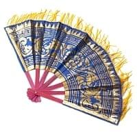 バリの金ピカ扇子飾りつき - 青・ピンク