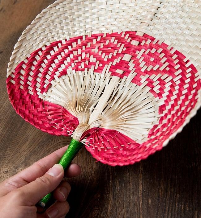 ベトナムの竹製 手作り リーフ型うちわ - 大 7 - 素敵なうちわです