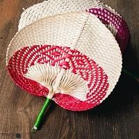ベトナムの竹製 手作り リーフ型うちわ - 大