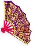 バリの金ピカ扇子 - 赤・紫