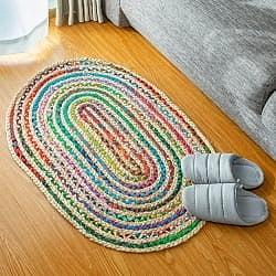 コットンとジュートのカラフル手編みラグ オーバルタイプ【90×60cm】