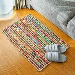 コットンとジュートのカラフル手編みラグ【90×60cm】